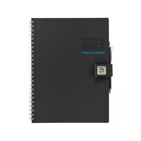 Блокнот Piquadro STATIONERY/Black A5 на кольцах (70стр) (15,5х21х1,5)