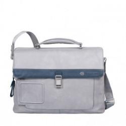 Портфель Piquadro VIBE/Grey-Blue на 2 отдел. с фронт. карманом и с отдел. д/ноутбука (42x30x13)